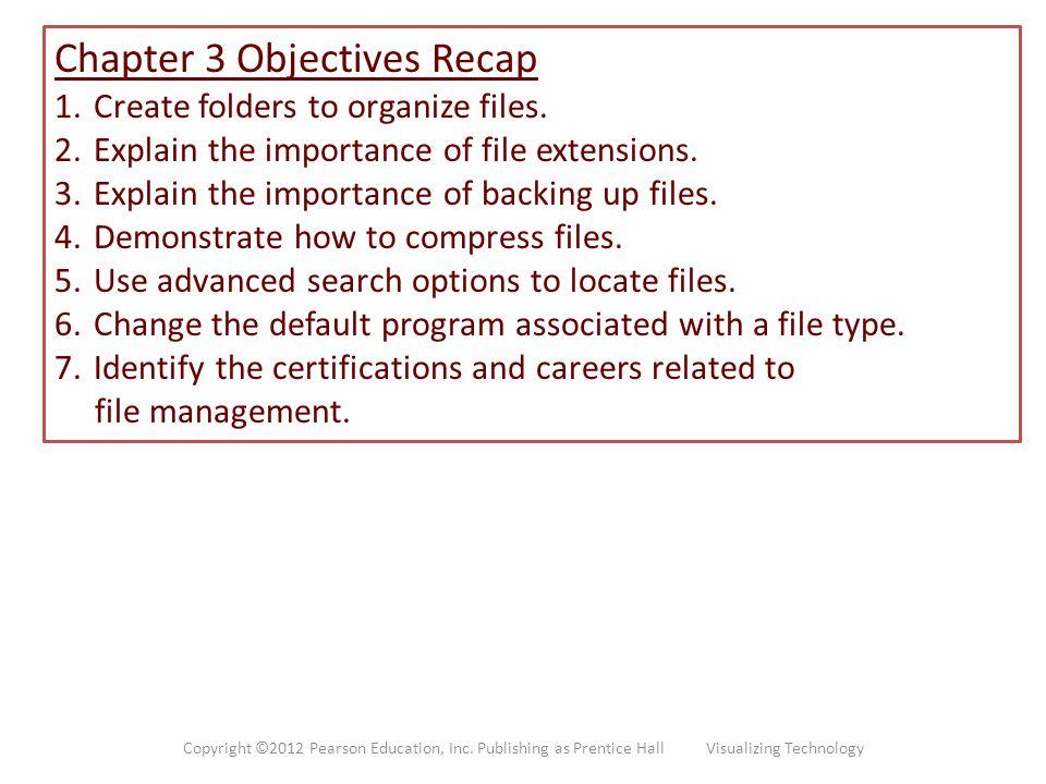 Chapter 3 Objectives Recap