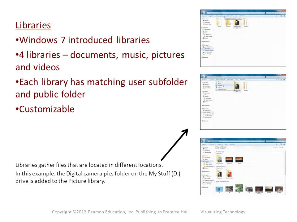 Windows 7 introduced libraries