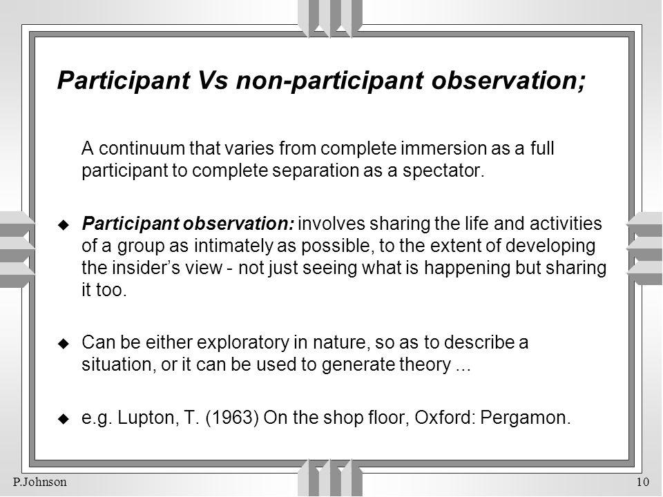 Participant Vs non-participant observation;