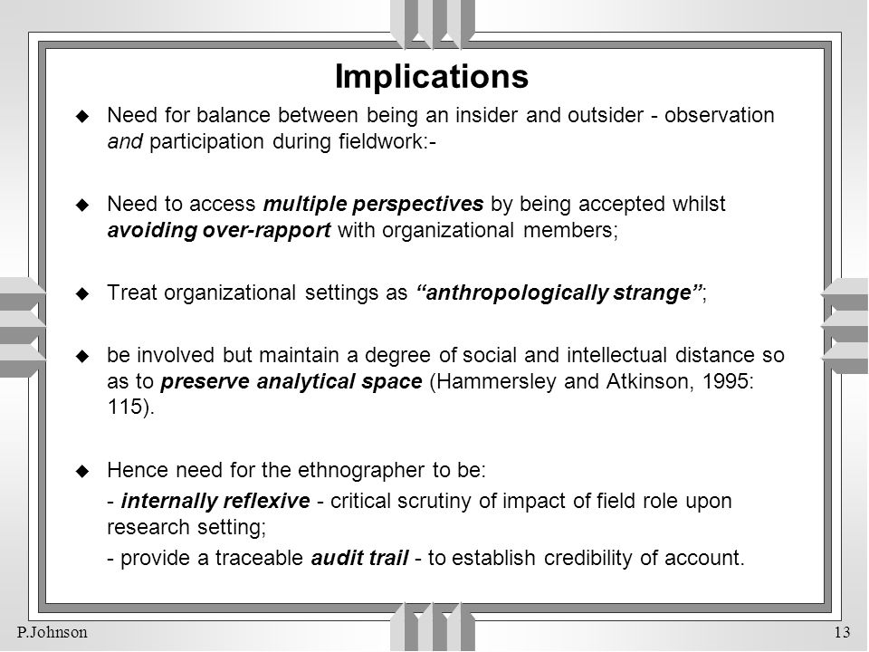 Implications Need for balance between being an insider and outsider - observation and participation during fieldwork:-