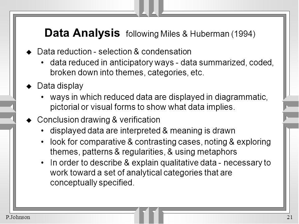 Data Analysis following Miles & Huberman (1994)