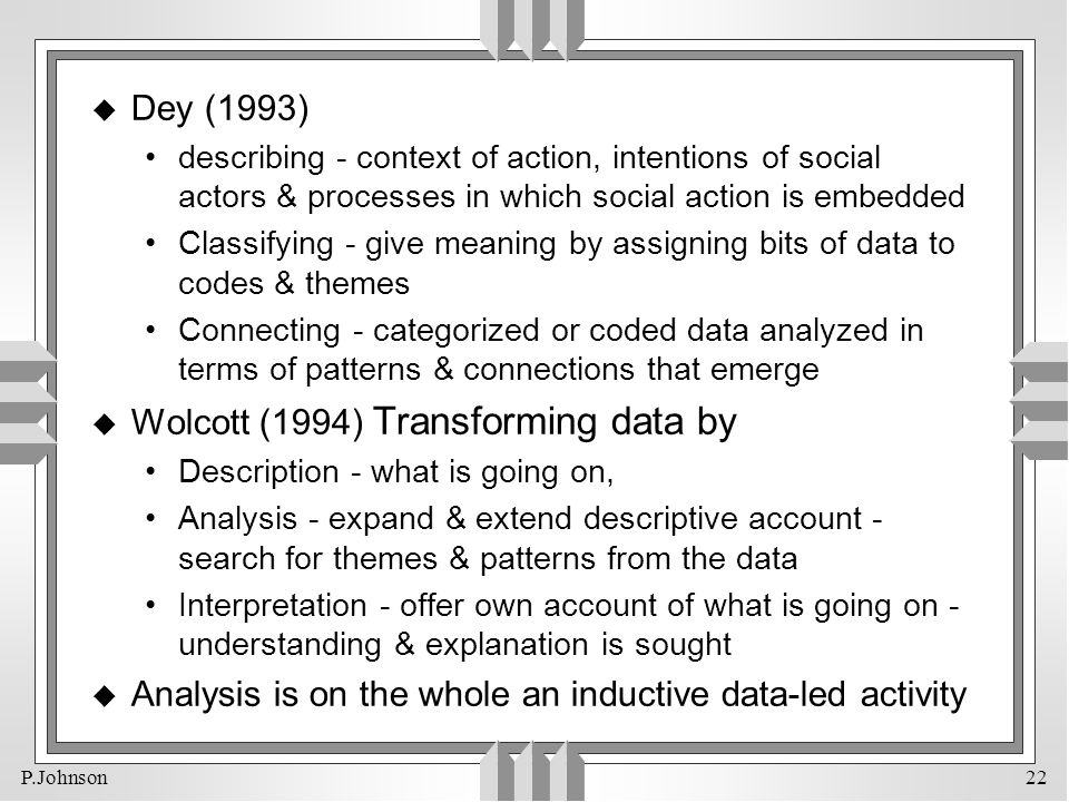 Wolcott (1994) Transforming data by