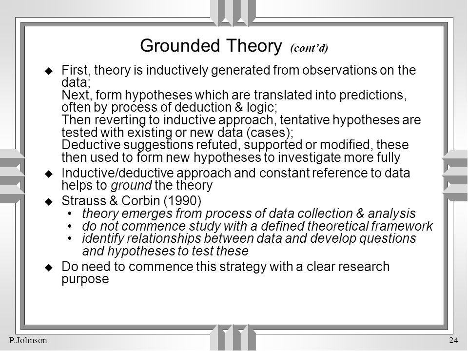 Grounded Theory (cont'd)