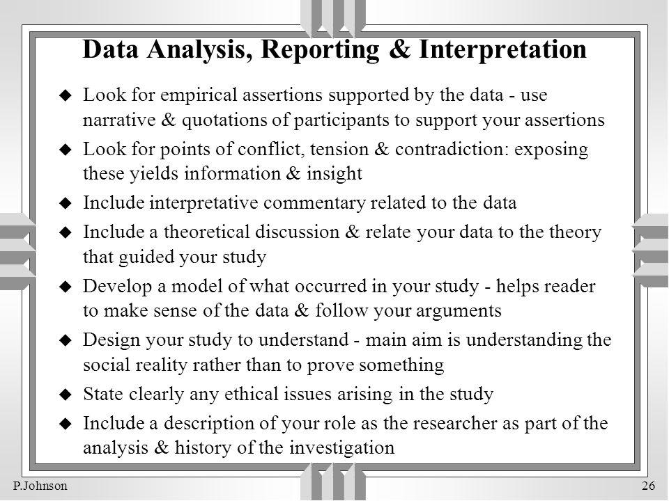 Data Analysis, Reporting & Interpretation