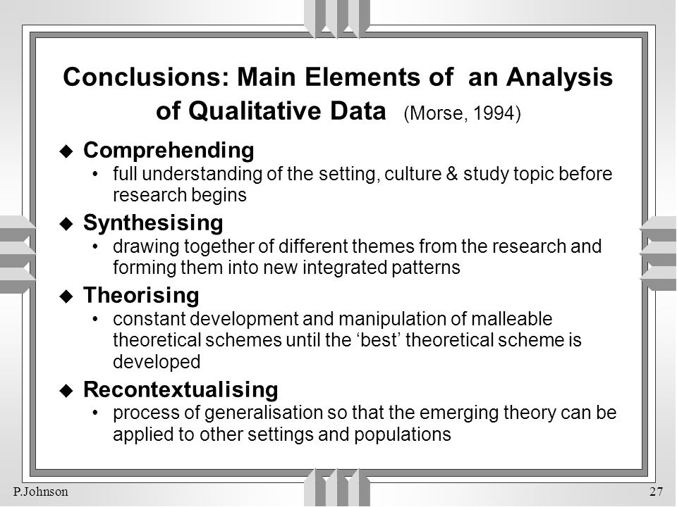 Conclusions: Main Elements of an Analysis of Qualitative Data (Morse, 1994)