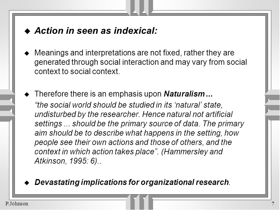 Action in seen as indexical: