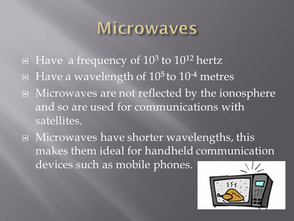 Microwaves Have a frequency of 103 to 1012 hertz