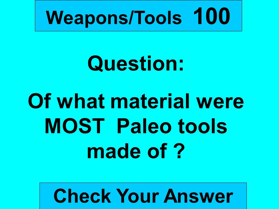 Of what material were MOST Paleo tools made of