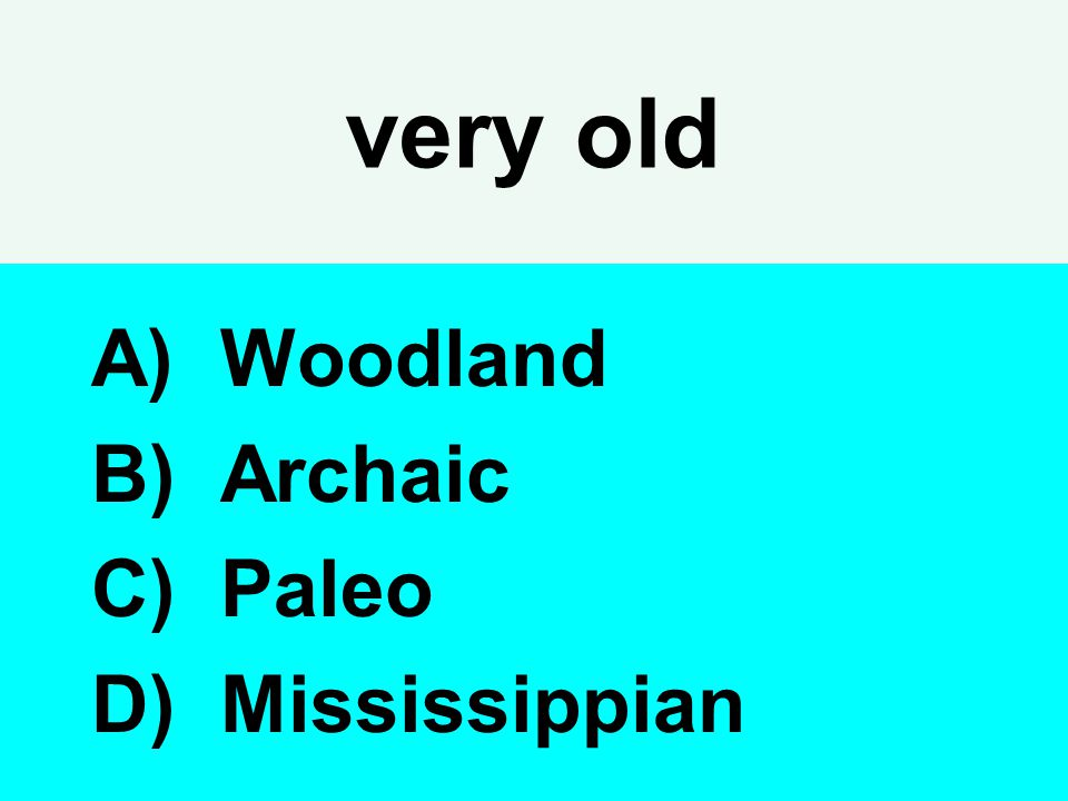 very old Woodland Archaic Paleo Mississippian