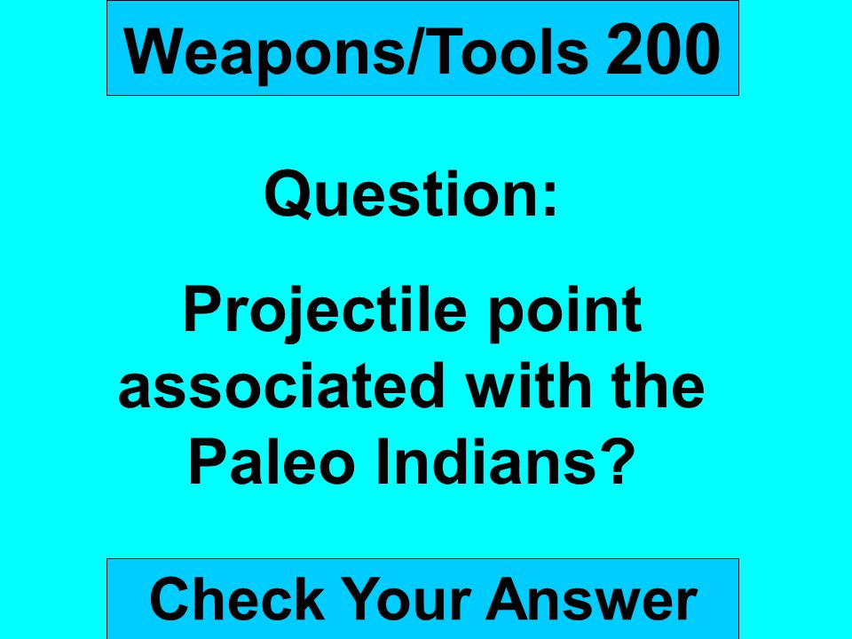 Projectile point associated with the Paleo Indians