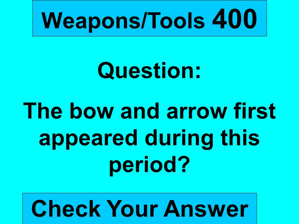 The bow and arrow first appeared during this period
