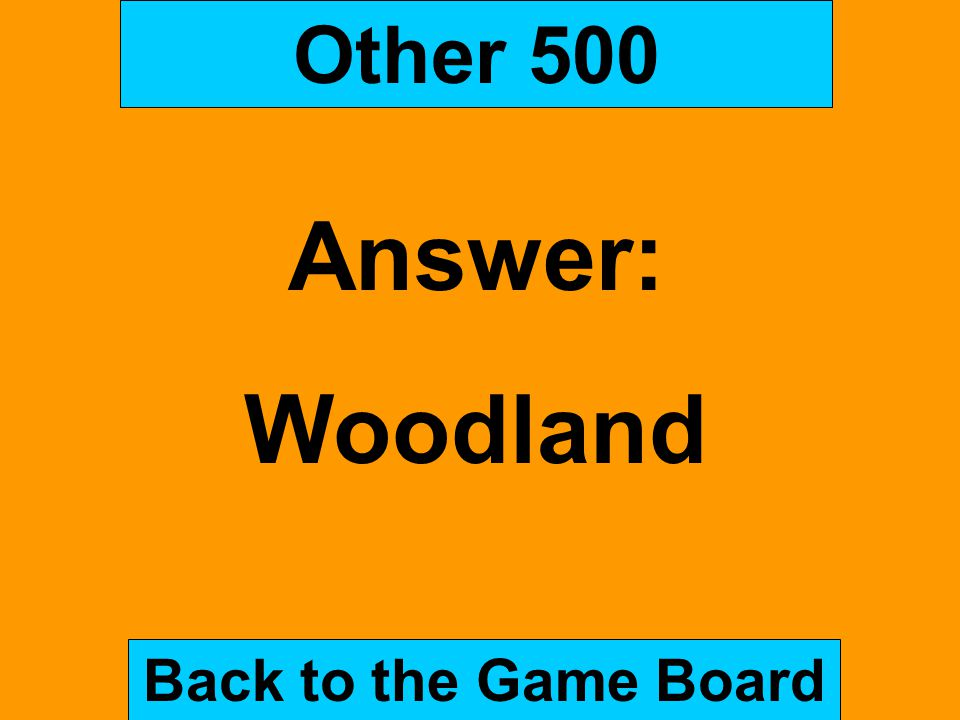 Other 500 Answer: Woodland Back to the Game Board