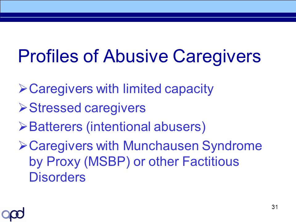 Profiles of Abusive Caregivers