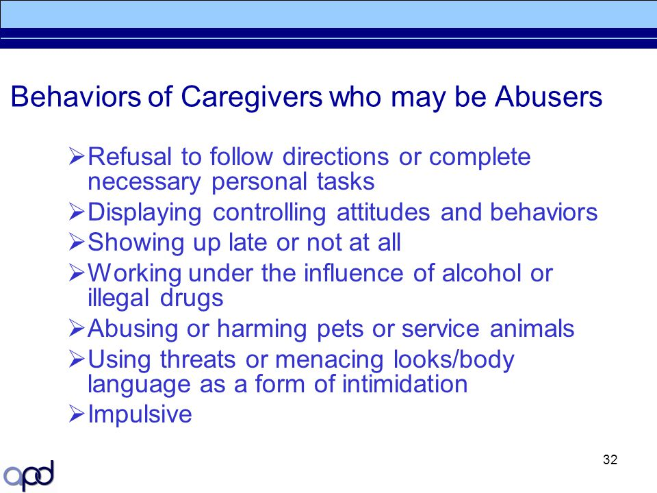Behaviors of Caregivers who may be Abusers