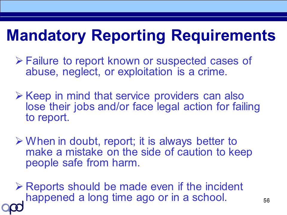 Mandatory Reporting Requirements