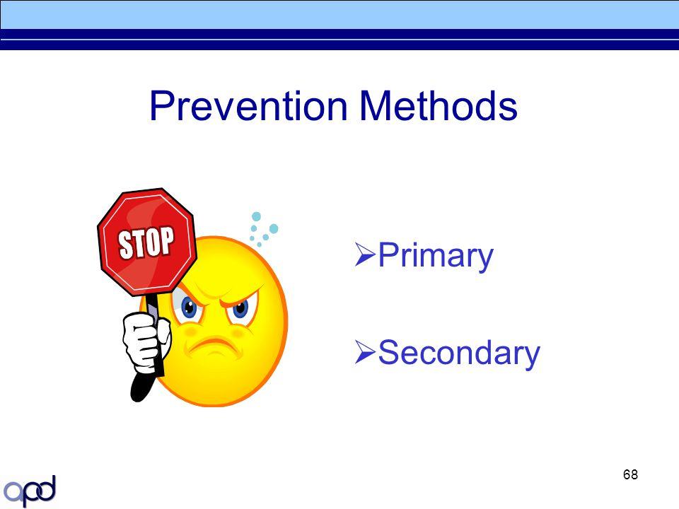 Prevention Methods Primary Secondary