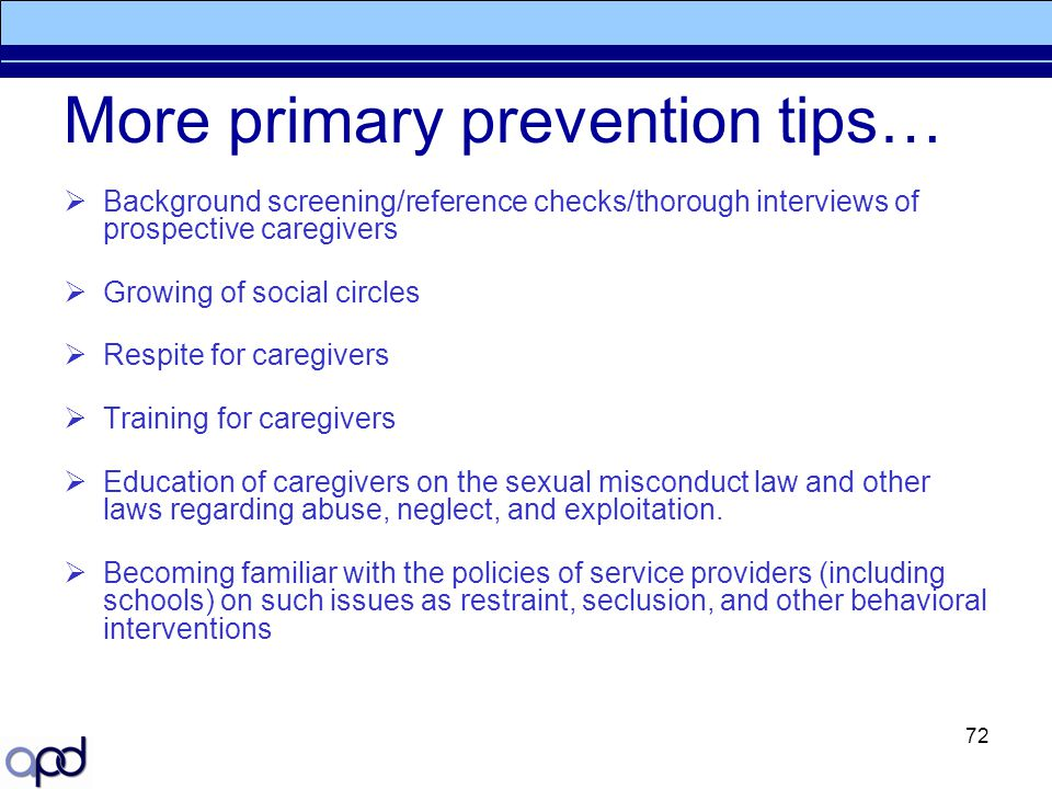 More primary prevention tips…