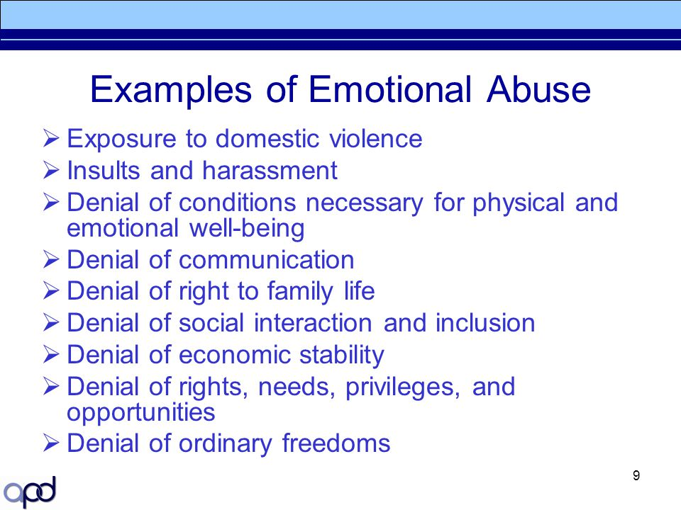 Examples of Emotional Abuse