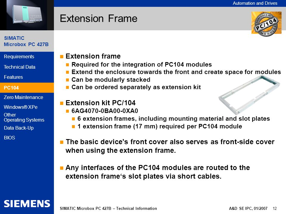 Extension Frame Extension frame Extension kit PC/104