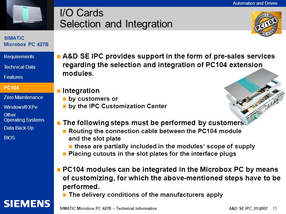 I/O Cards Selection and Integration