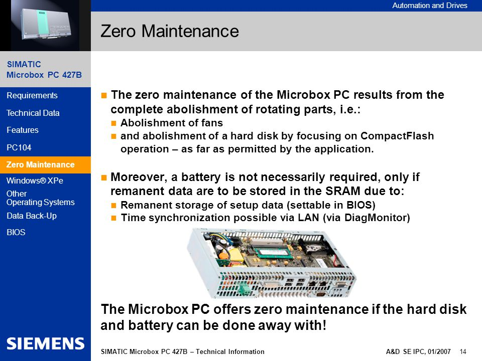 Zero Maintenance The zero maintenance of the Microbox PC results from the complete abolishment of rotating parts, i.e.: