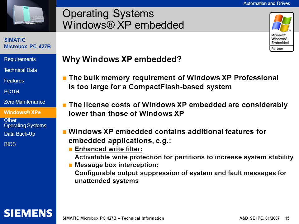 Operating Systems Windows® XP embedded