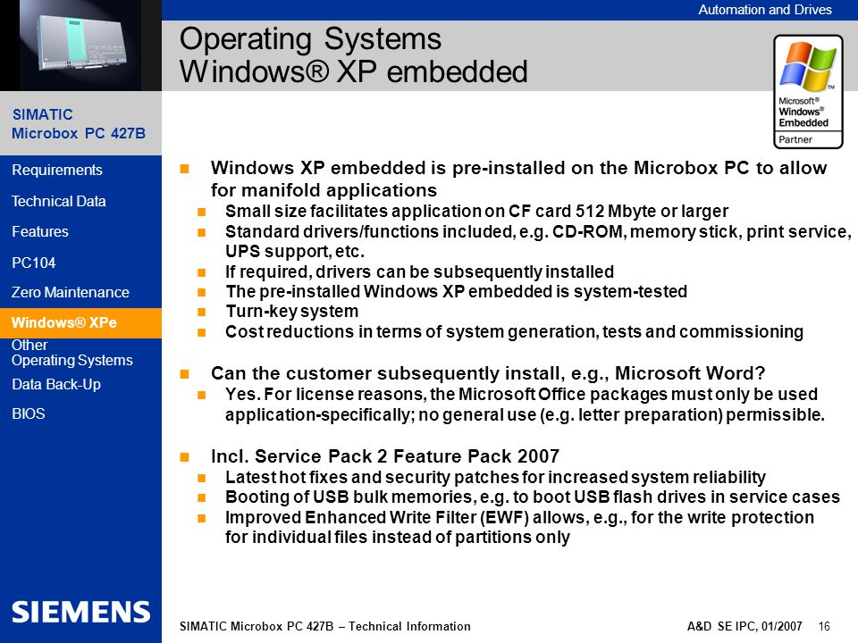 Simatic microbox pc 427b developed in accordance with - Office 2007 supported operating systems ...