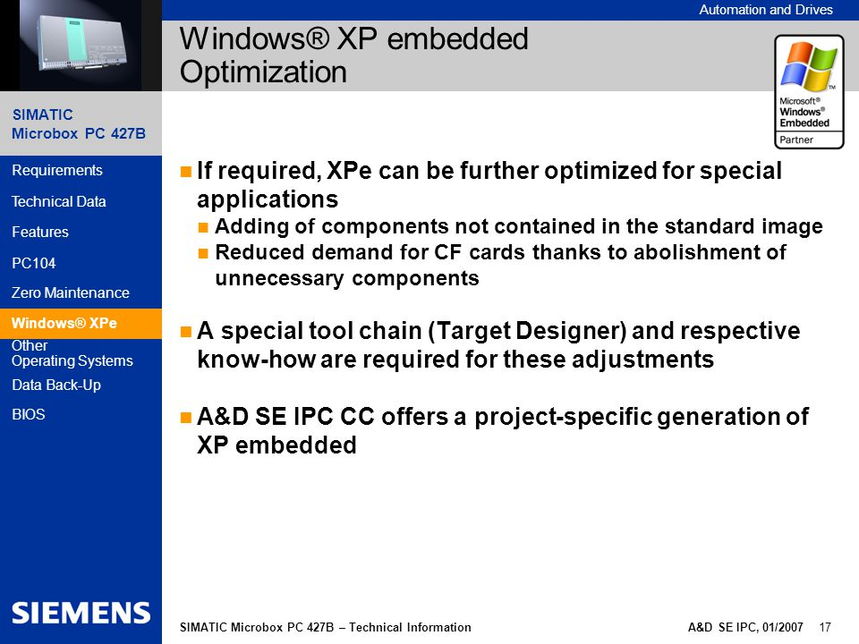 Windows® XP embedded Optimization