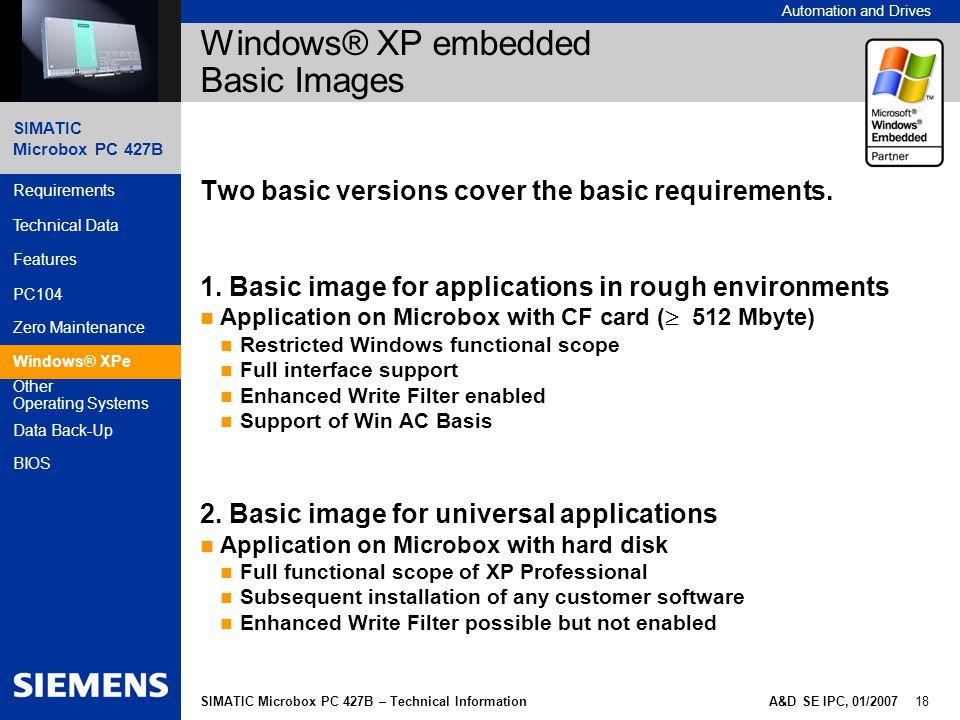 Windows® XP embedded Basic Images