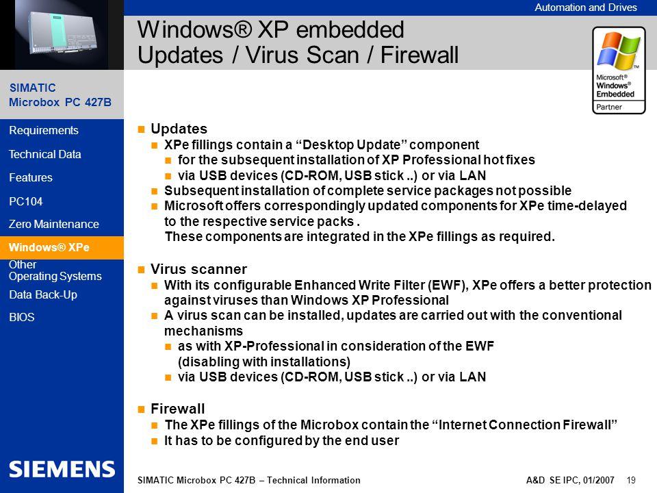 Windows® XP embedded Updates / Virus Scan / Firewall