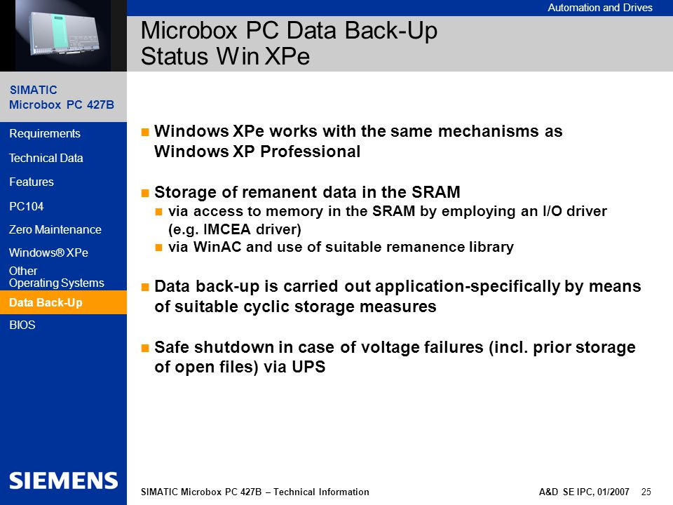 Microbox PC Data Back-Up Status Win XPe