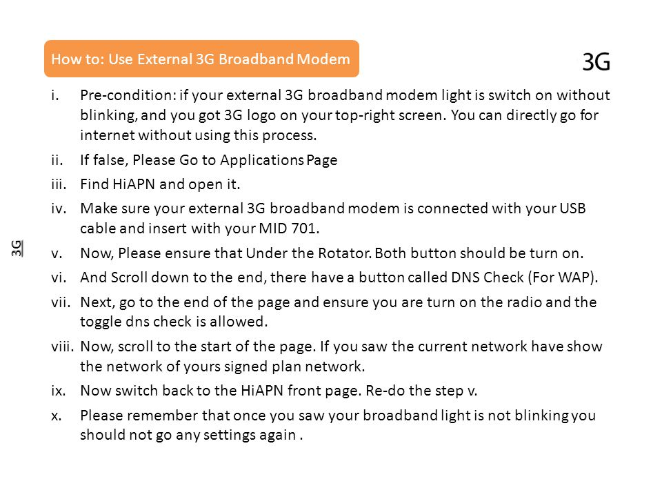 How to: Use External 3G Broadband Modem