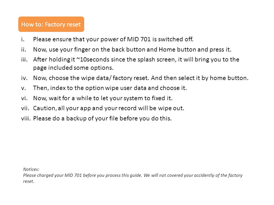 Please ensure that your power of MID 701 is switched off.