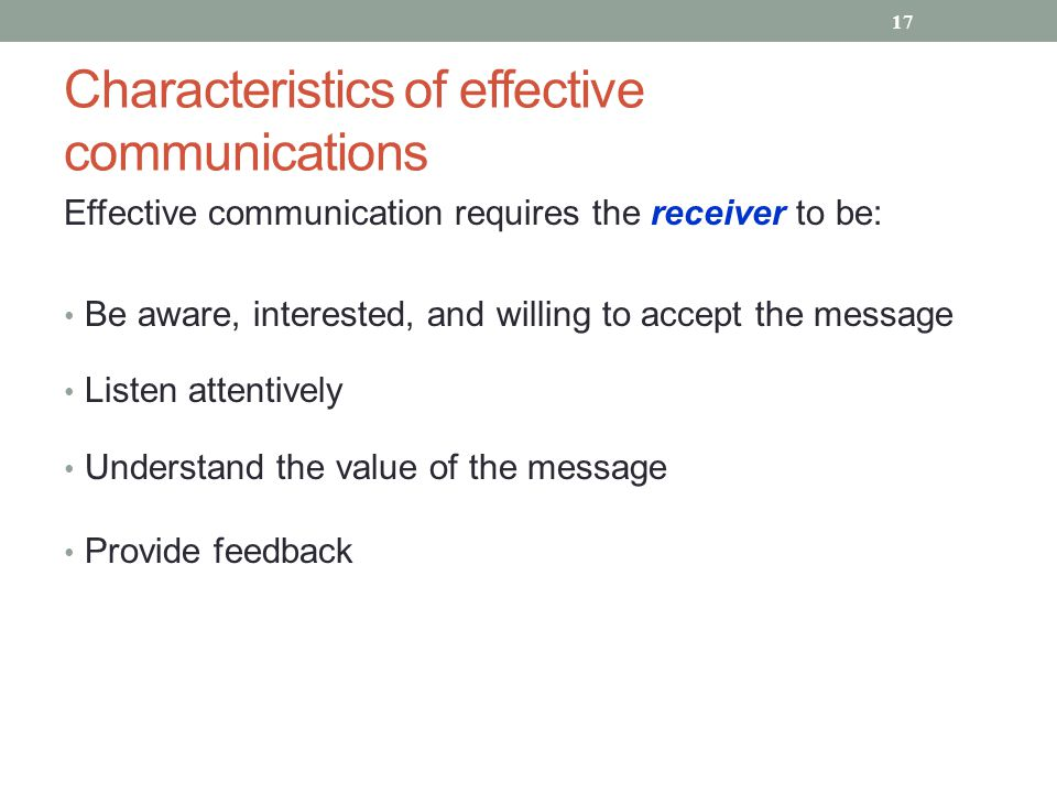 Characteristics of effective communications