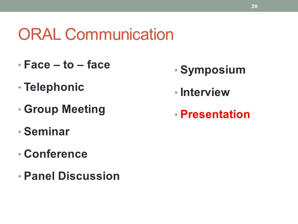 ORAL Communication Face – to – face Symposium Telephonic Interview
