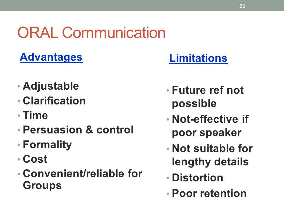 ORAL Communication Advantages Adjustable Clarification Time