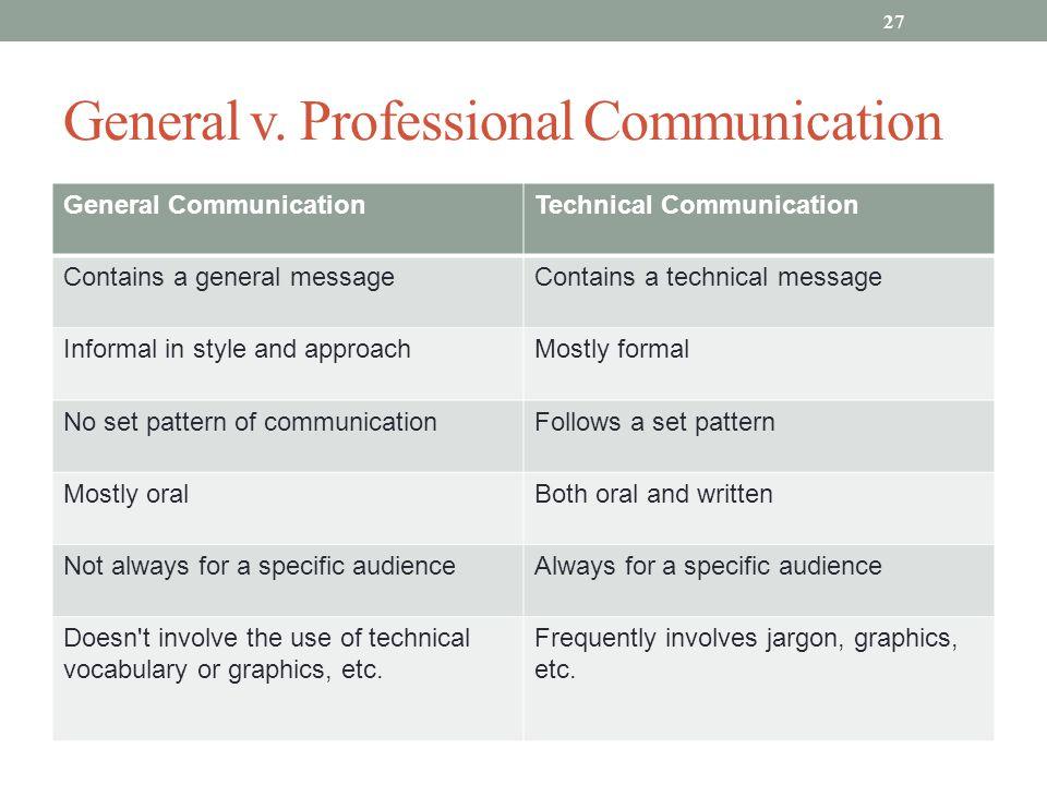 General v. Professional Communication