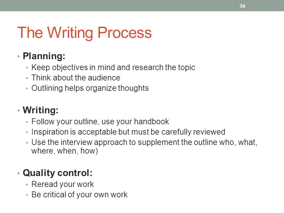 The Writing Process Planning: Writing: Quality control: