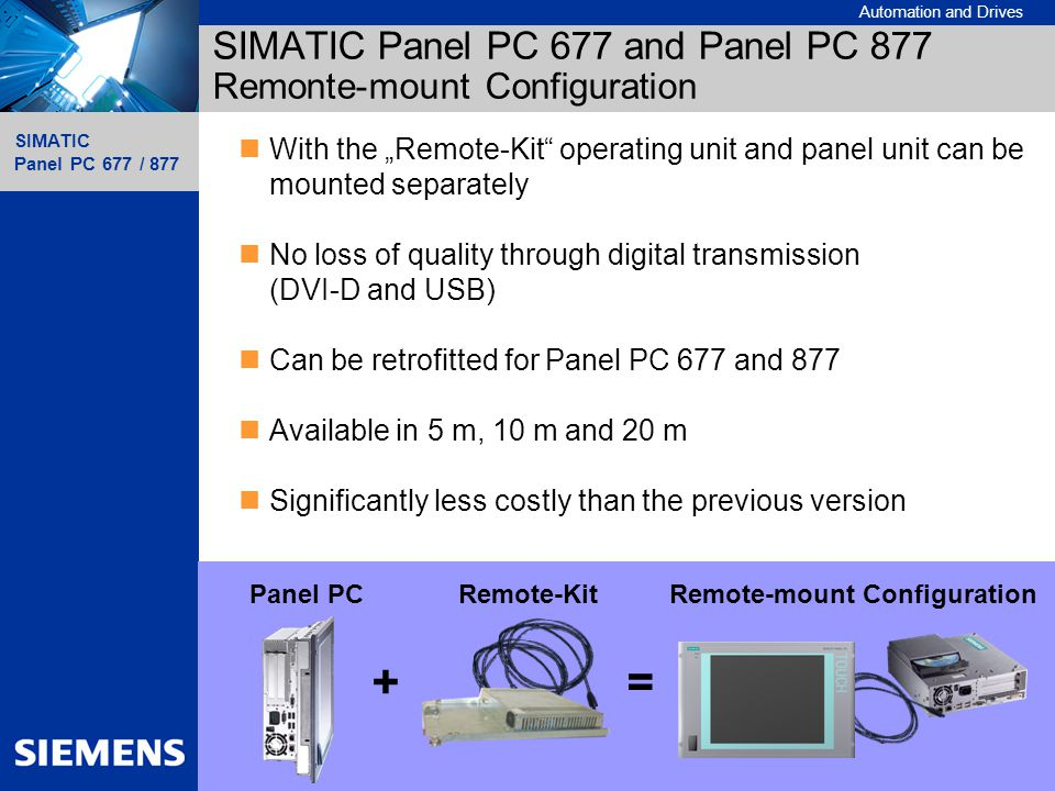 SIMATIC Panel PC 677 and Panel PC 877 Remonte-mount Configuration