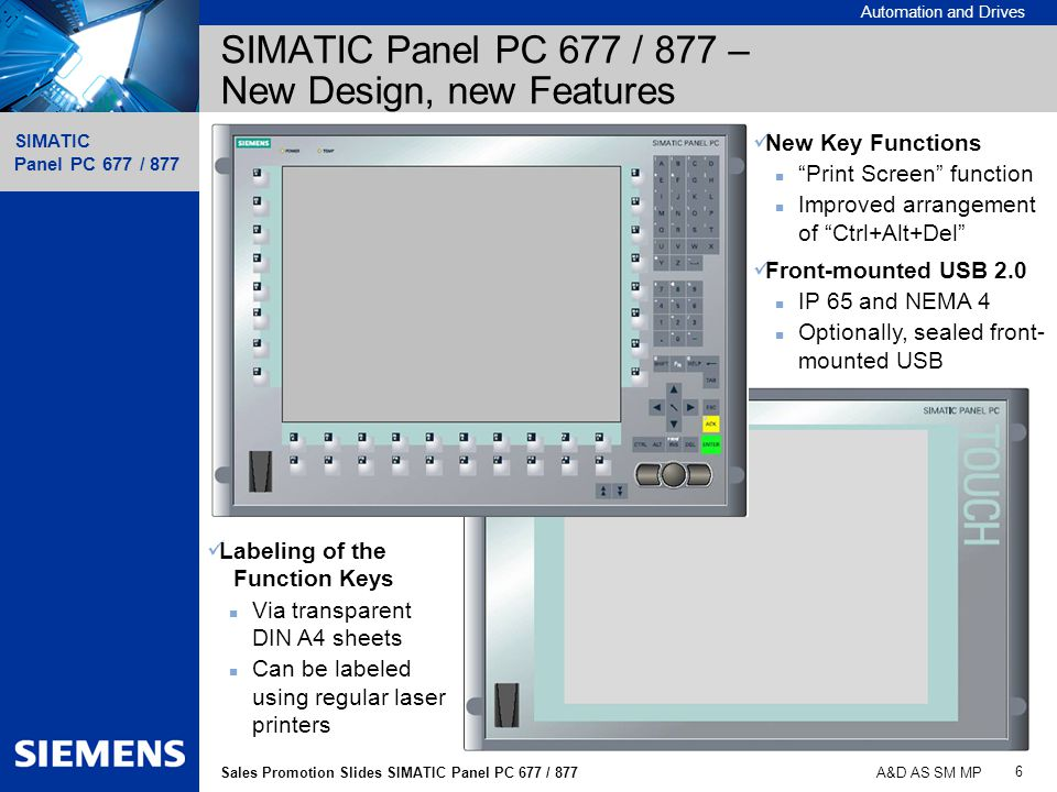 SIMATIC Panel PC 677 / 877 – New Design, new Features