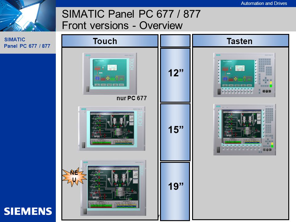 SIMATIC Panel PC 677 / 877 Front versions - Overview