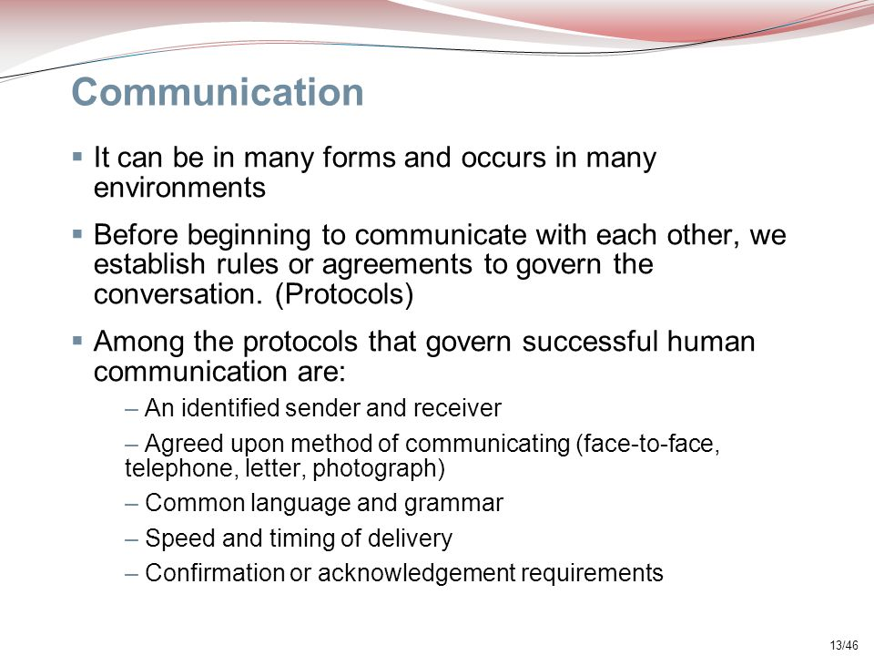 Communication It can be in many forms and occurs in many environments