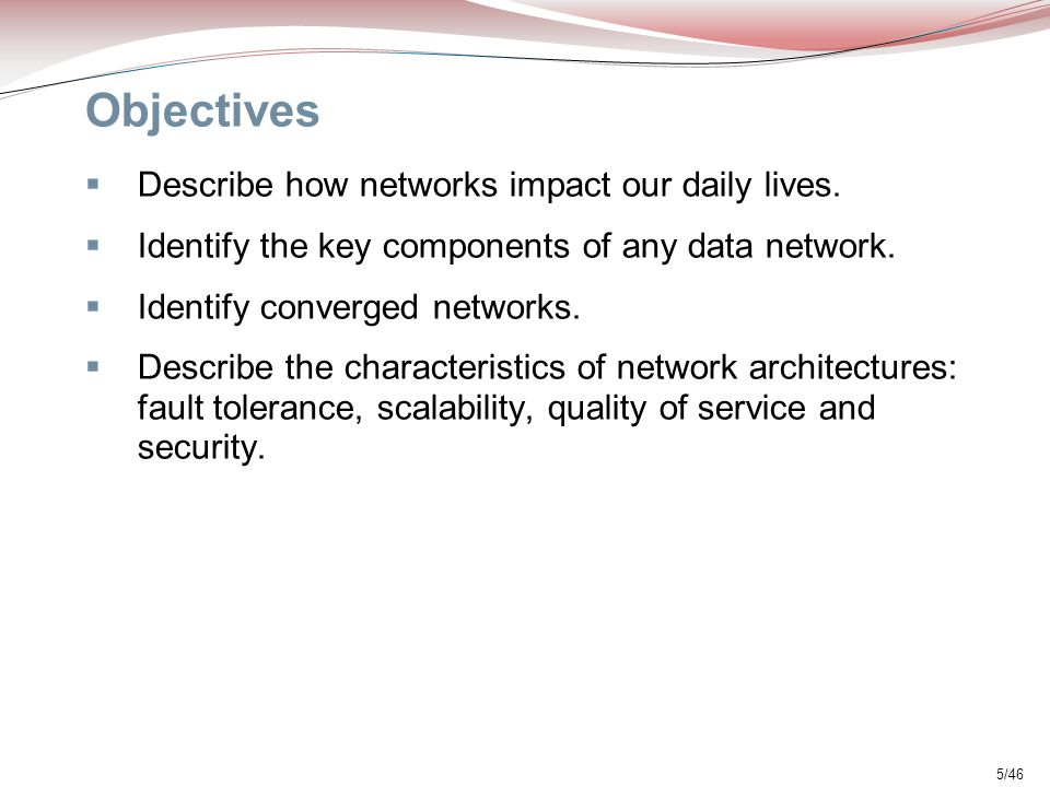 Objectives Describe how networks impact our daily lives.