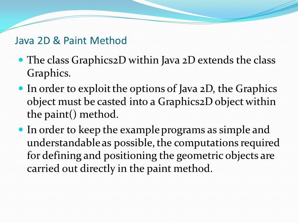 Java 2D & Paint Method The class Graphics2D within Java 2D extends the class Graphics.