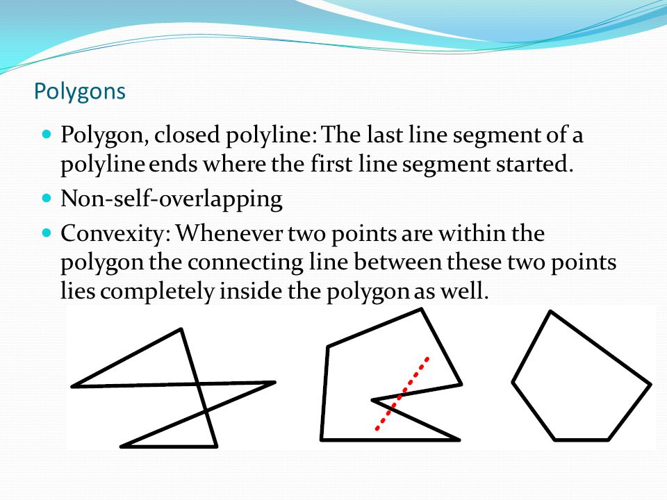 Polygons Polygon, closed polyline: The last line segment of a polyline ends where the first line segment started.