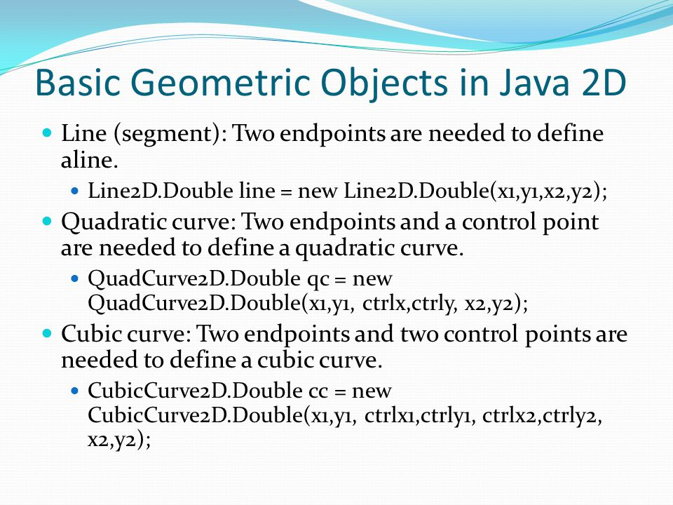 Basic Geometric Objects in Java 2D