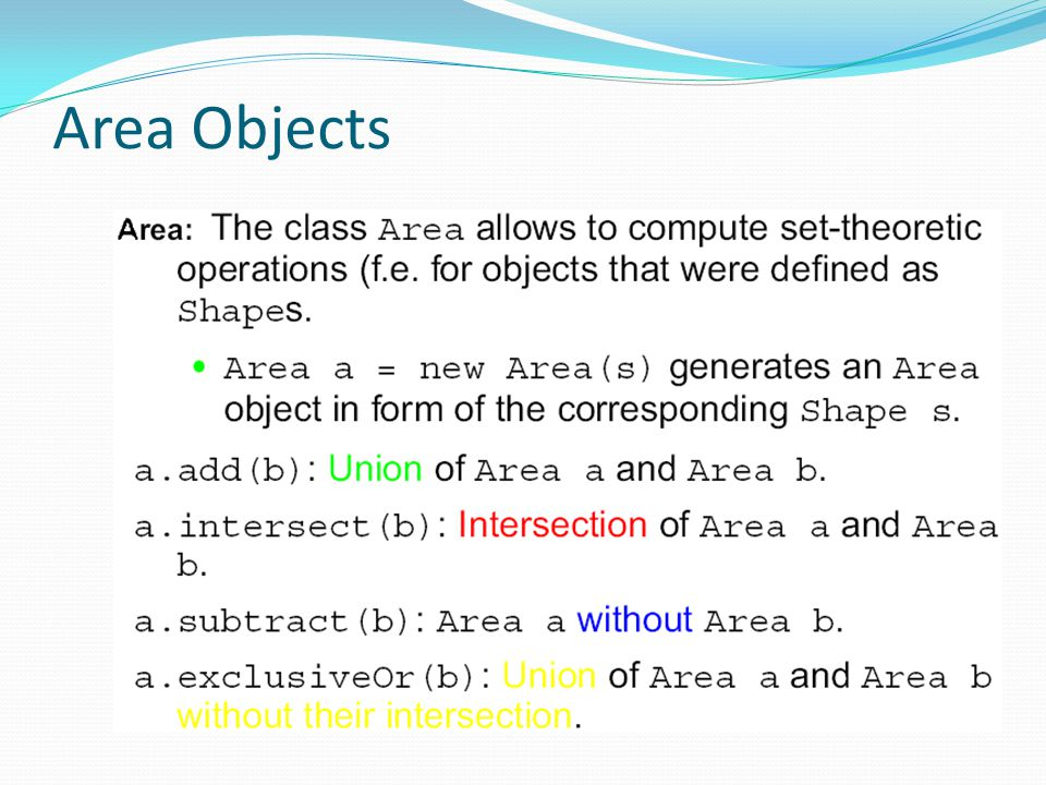 Area Objects