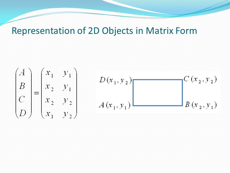 Representation of 2D Objects in Matrix Form