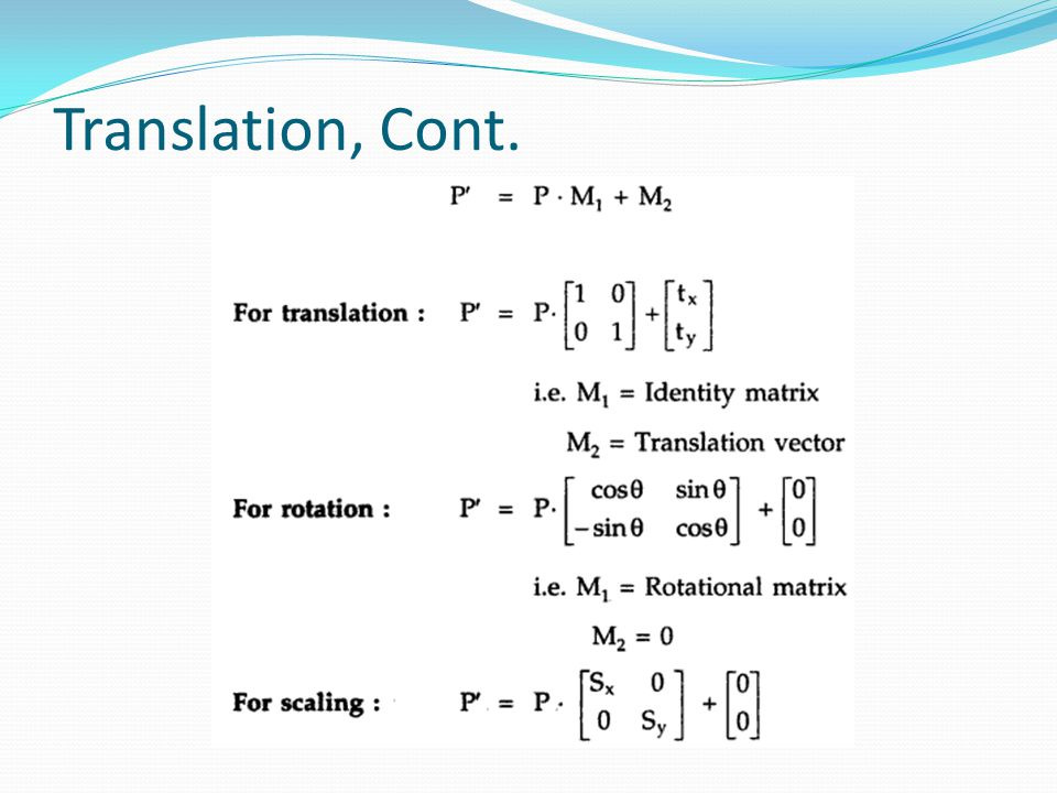 Translation, Cont.