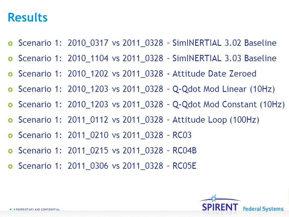 Results Scenario 1: 2010_0317 vs 2011_0328 – SimINERTIAL 3.02 Baseline